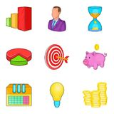 Subdivision icons set, cartoon style Royalty Free Stock Image