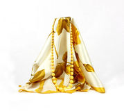 Subdued Yellow Necklace Draped Floral Scarf Stock Image