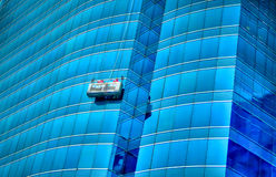 Säubern des Gebäudes Stockfotos