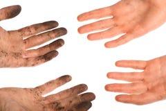 Säubern Sie schmutzige Hände Stockfotografie