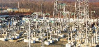 Subestação de alta tensão do transformador de poder Fotografia de Stock