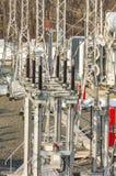 Subestação de alta tensão do transformador de poder Fotos de Stock Royalty Free