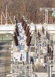 Subestação de alta tensão do transformador de poder Fotos de Stock