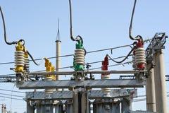 Subestação de alta tensão elétrica Fotografia de Stock