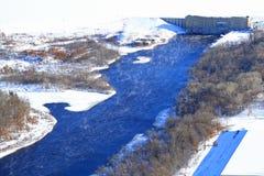 Subestação elétrica e represa do hidro poder aéreo Fotos de Stock