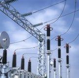 Subestación de alto voltaje. Imagen de archivo