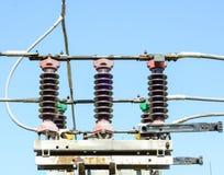 Subestación de alto voltaje eléctrica imagenes de archivo