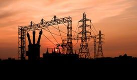 Subestación de la electricidad imagen de archivo libre de regalías