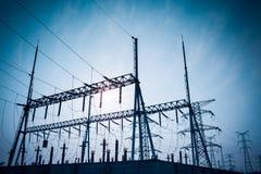 Subestación eléctrica Fotografía de archivo libre de regalías