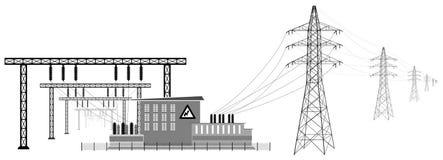 Subestación eléctrica con las líneas de alto voltaje Transmisión y reducción de la energía eléctrica stock de ilustración