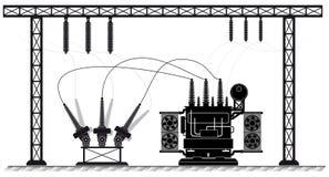 Subestación eléctrica El transformador y el interruptor de alto voltaje Ejemplo blanco negro Suministro de electricidad libre illustration