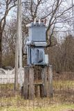 Subestación eléctrica, transformador de alto voltaje imagen de archivo libre de regalías