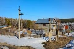 Subestación rural del transformador del palo Foto de archivo