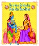 Subhadra tying Rakhi to Krishna on Raksha Bandhan. Illustration of Subhadra tying Rakhi to Krishna on Raksha Bandhan Stock Images