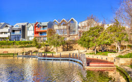 Subiaco Mere. Early in the morning at Subiaco Mere against a backdrop of contemporary residences, in the trendy suburb of Subiaco in Perth, Western Australia Stock Photos