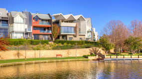 Subiaco Mere. Early in the morning at Subiaco Mere with a backdrop of contemporary residences, in the trendy suburb of Subiaco in Perth, Western Australia Royalty Free Stock Photography