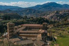 Subiaco village and Santa Scolastica abbey in Lazio Royalty Free Stock Images