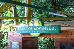 Signboard of Tree Top Adventures which is zip-line and trekking. SUBIC BAY, PHILIPPINES : JAN 28, 2018 - Signboard of Tree Top Adventures which is zip-line and royalty free stock images
