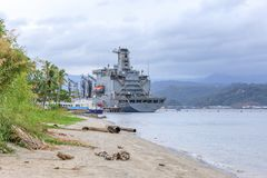 USNS Joshua Humphreys (T-AO-188) fleet replenishment oiler of th. SUBIC BAY, PHILIPPINES : JAN 28, 2018 - USNS Joshua Humphreys (T-AO-188) fleet replenishment royalty free stock image