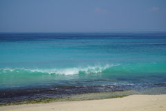 Subida de la onda con el chapoteo cerca de la orilla Imagen de archivo