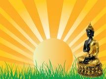 Subida de Sun con Buda stock de ilustración