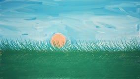 Subida de Sun de una tierra de la hierba libre illustration
