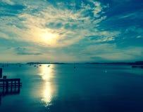Subida del sol del lago boston Fotografía de archivo libre de regalías