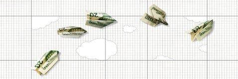 Subida y caída del dólar Aeroplanos de papel del billete de dólar 20 volar para arriba y caer abajo contra un fondo del papel en  libre illustration
