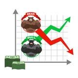 Subida y caída de citas del dólar Apuestas en intercambio osos Imágenes de archivo libres de regalías