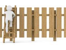 Subidas del hombre en escalera a través de la cerca Imágenes de archivo libres de regalías