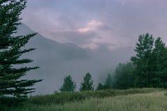 Subidas del vapor apagado del lago wedge en el país de Kananaskis, Alberta Canadá Foto de archivo libre de regalías