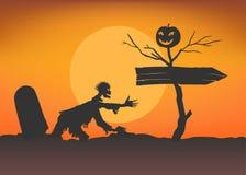 Subidas del zombi de la tumba hacia el indicador Imágenes de archivo libres de regalías