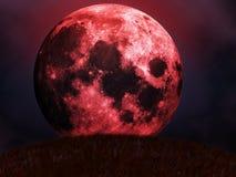 Subidas rojas de la luna Imágenes de archivo libres de regalías