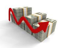 Subiendo cientos gráficos de la carta de barra de los paquetes del dólar con la flecha roja Fotos de archivo libres de regalías