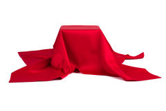 Subject covered with red cloth. On a white background Stock Photography