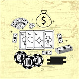 The subject of gambling: cards, money, chips. Info graphic of gambling: cards, money, chips, coins on the grunge background Royalty Free Stock Photography