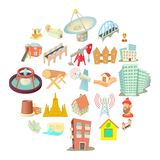 Subject icons set, cartoon style. Subject icons set. Cartoon set of 25 subject vector icons for web isolated on white background Royalty Free Stock Image