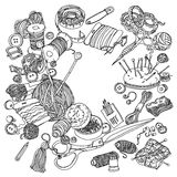 Subject for needlework. Needlework items black and white  ornament. Could be use  for adult coloring book  in zenart style Stock Photography