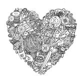 Subject for needlework. Needlework items black and white  ornament in heart shape as a symbol of love for needlework . Could be use  for adult coloring book  in Stock Photography