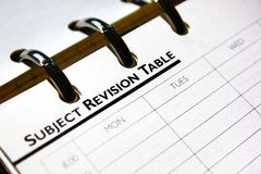 Subject Revision table page Stock Photography