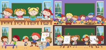 Subject and Students in Classroom. Illustration Stock Images