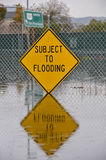 Subject to flooding sign and reflection Royalty Free Stock Images