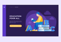 Subject of training, reading books, visiting library. Image of reading person surrounded by books and alphabet. royalty free illustration