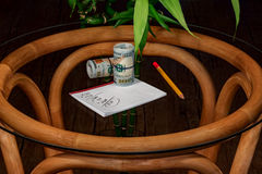 Subjects on desktop from a bamboo. Subjects on desktop from glass and a bamboo royalty free stock image