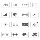 Subjects icon education concept, class room, blackboard and subjects icon Royalty Free Stock Photos