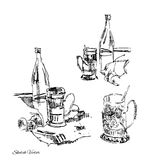 Subjects in a kitchen.Sketch drawing Royalty Free Stock Images
