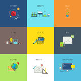 Subjects for study. Flat line vector icons set Royalty Free Stock Photo