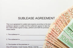 Sublease agreement with Euro notes Royalty Free Stock Photo