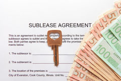 Sublease agreement with Euro notes and key Royalty Free Stock Photo