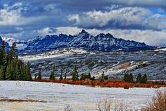 Sublette maximum i den Absaroka bergskedjan på det Togwotee passerandet som sett från Dubois Wyoming Royaltyfria Bilder